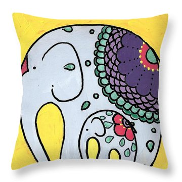 Elephant And Child On Yellow Throw Pillow