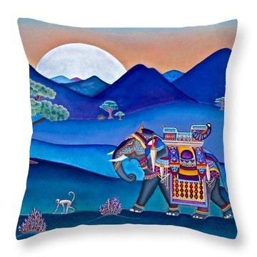Elephant And Monkey Stroll Throw Pillow