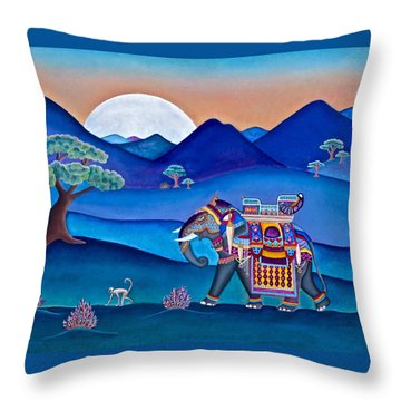 Elephant And Monkey Stroll Throw Pillow