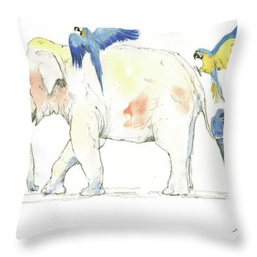Elephant And Parrots Throw Pillow by Juan Bosco