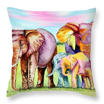 Elephant Aura Throw Pillow by Maria Barry