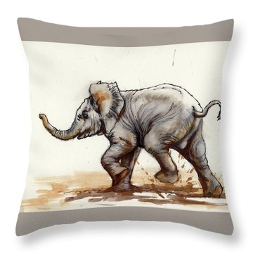 Throw Pillow featuring the painting Elephant Baby At Play by Margaret Stockdale
