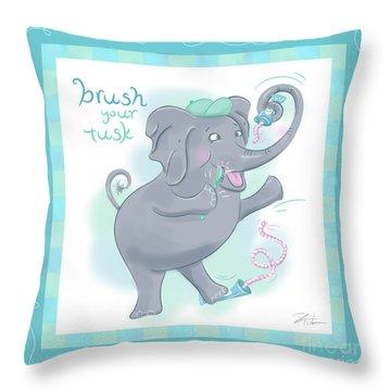 Elephant Bath Time Brush Your Tusk Throw Pillow