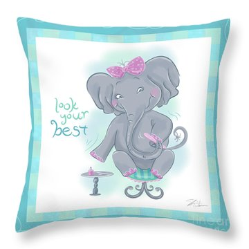 Elephant Bath Time Look Your Best Throw Pillow