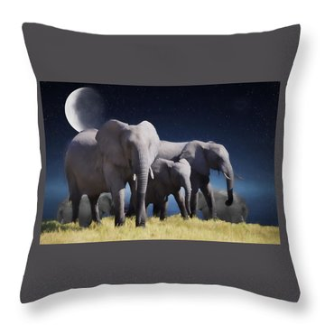 Elephant Bath Time Painting Throw Pillow by Ericamaxine Price