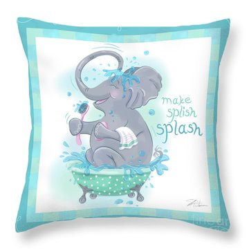 Elephant Bath Time Splish Splash Throw Pillow