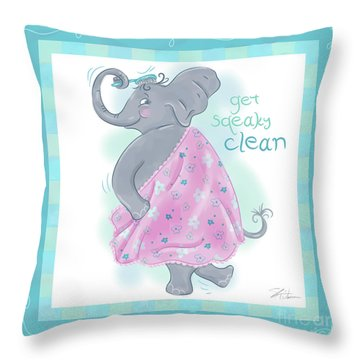 Elephant Bath Time Squeaky Clean Throw Pillow