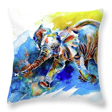 Throw Pillow featuring the painting Elephant Calf Playing With Butterfly by Zaira Dzhaubaeva