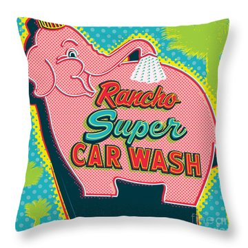 Elephant Car Wash - Rancho Mirage - Palm Springs Throw Pillow