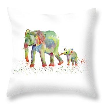 Elephant Family Watercolor  Throw Pillow