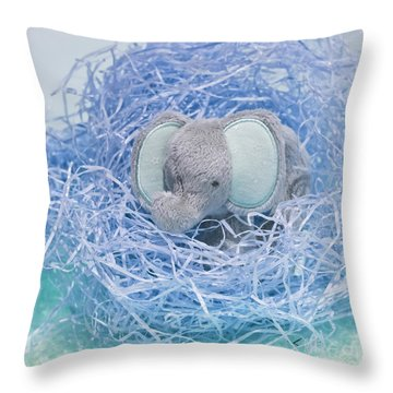 Elephant For Charity Blue Throw Pillow by Terri Waters