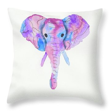 Elephant Head In Watercolour  Throw Pillow