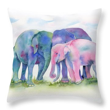 Elephant Hug Throw Pillow