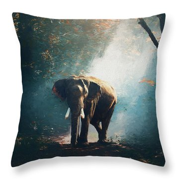 Elephant In The Mist - Painting Throw Pillow