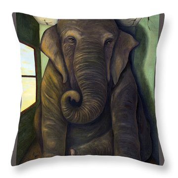 Elephant In The Room With Lettering Throw Pillow