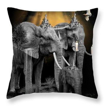 Elephant Kingdom 3 Throw Pillow