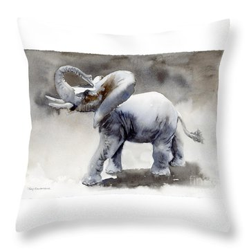 Elephant Light Study  Throw Pillow by Amy Kirkpatrick