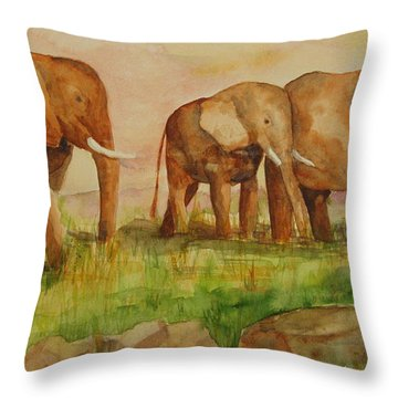 Elephant Parade Throw Pillow by Vicki  Housel