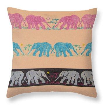 Elephant Pattern Throw Pillow by John Keaton