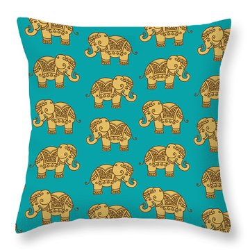 Elephant Pattern Throw Pillow by Krishna Kharidehal