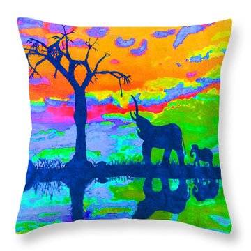 Elephant Reflections Throw Pillow