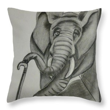 Throw Pillow featuring the drawing Elephant Still Waiting by Kelly Mills