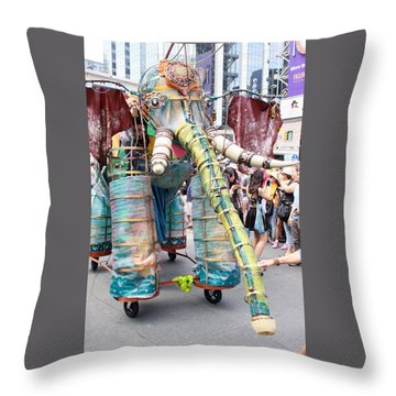 Elephant Support For Busker Fest Throw Pillow