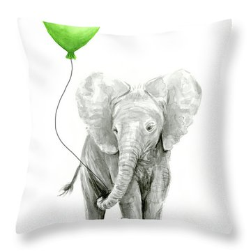 Elephant Watercolor Green Balloon Kids Room Art  Throw Pillow