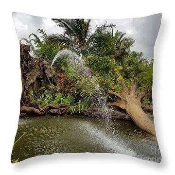 Elephant Waterfall Throw Pillow