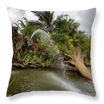 Elephant Waterfall Throw Pillow