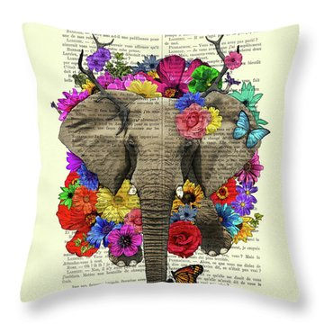 Elephant With Colorful Flowers Illustration Throw Pillow