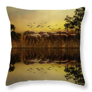 Elephants At Sunset Throw Pillow