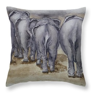 Elephants Leaving...no Butts About It Throw Pillow