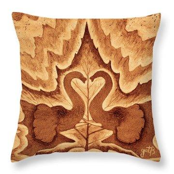 Throw Pillow featuring the painting Elephants Love Original Coffee Painting by Georgeta Blanaru