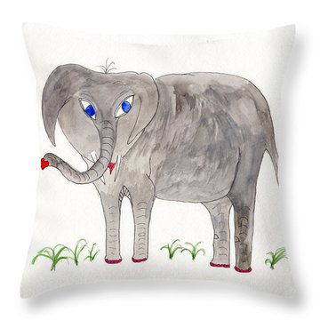 Elephoot And Friends Throw Pillow