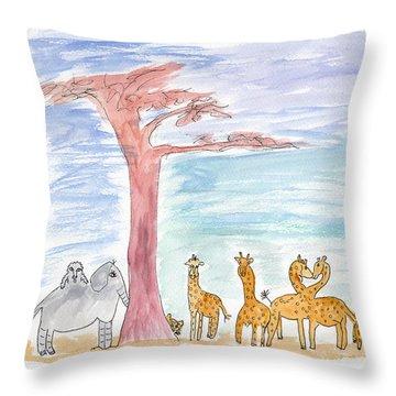 Elephoot By Baobab Tree Throw Pillow