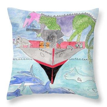 Elephoot On Tanker Ship Throw Pillow