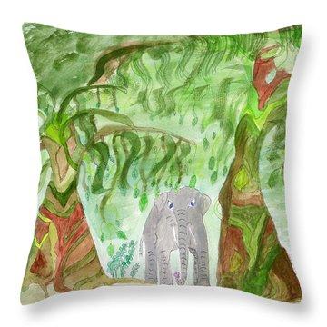 Elephoot Under The Banyans Throw Pillow