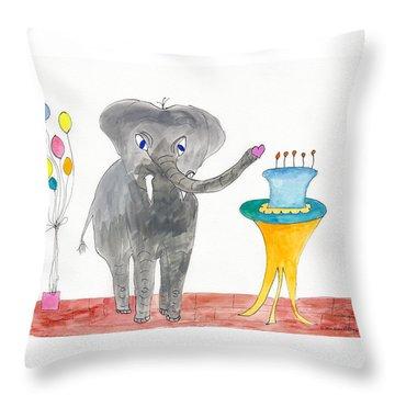 Elephoot's Birthday Greeting Throw Pillow