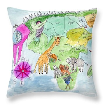 Elephoot's Map Of Africa Throw Pillow
