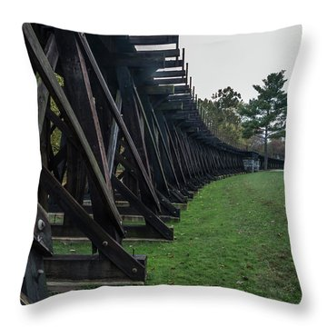 Throw Pillow featuring the photograph Harpers Ferry Elevated Railroad by Ed Clark