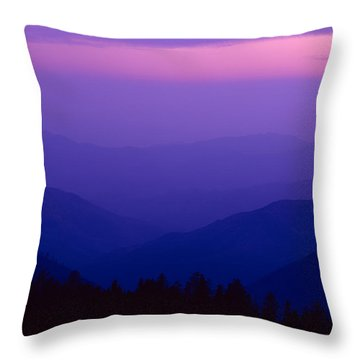 Elevated View Of Valley With Mountains Throw Pillow