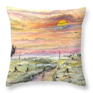 Elevator In The Sunset Throw Pillow