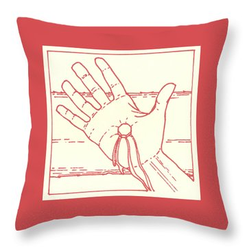 Throw Pillow featuring the drawing Eleventh Station- Jesus Is Nailed To The Cross  by William Hart McNichols