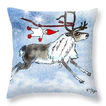 Elf And Reindeer Throw Pillow