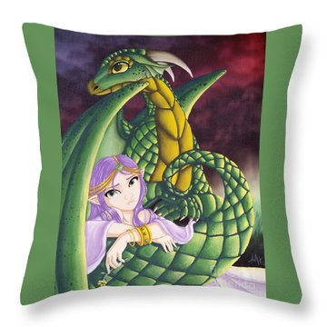 Elf Girl And Dragon Throw Pillow