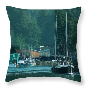 Elfin Cove Alaska Throw Pillow