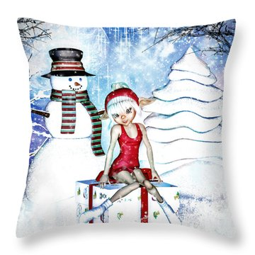 Elfin Winter Holidays Throw Pillow