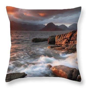 Throw Pillow featuring the photograph Elgol Stormy Sunset by Grant Glendinning