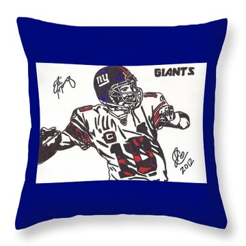 Throw Pillow featuring the drawing Eli Manning by Jeremiah Colley